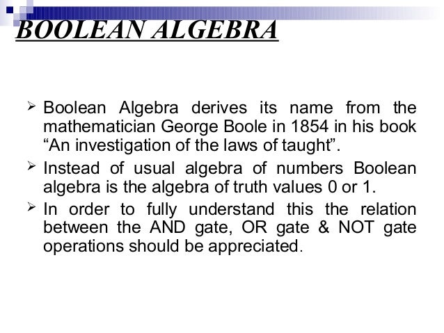 relationship between logic gates and boolean expressions are named