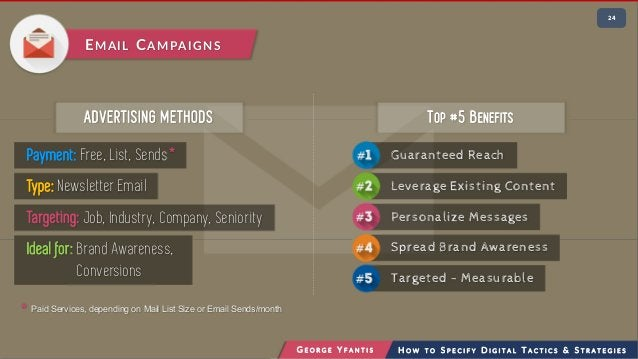 • 224 G E O R G E Y F A N T I S H O W T O S P E C I F Y D I G I T A L T A C T I C S & S T R A T E G I E S EMAIL CAMPAIGNS ...