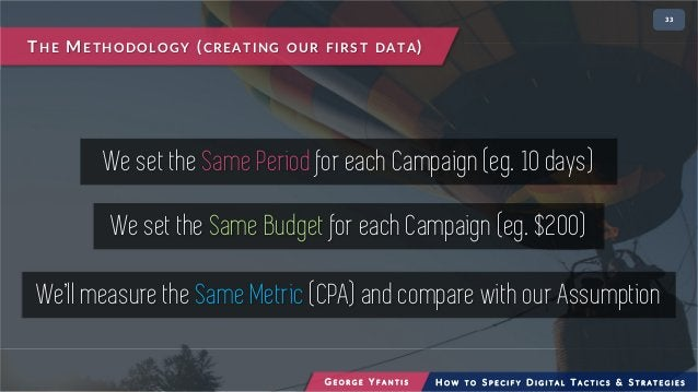 • 233 We set the Same Period for each Campaign (eg. 10 days) We set the Same Budget for each Campaign (eg. $200) THE METHO...