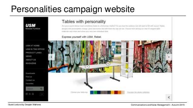 Personalities campaign - visuals Guest Lecture by Deepak Mathews Communications and Sales Management – Autumn 2015