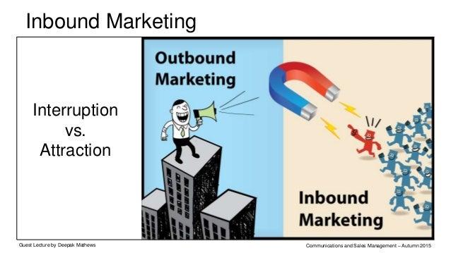 Inbound Marketing Methodology Guest Lecture by Deepak Mathews Communications and Sales Management – Autumn 2015 Inbound ma...
