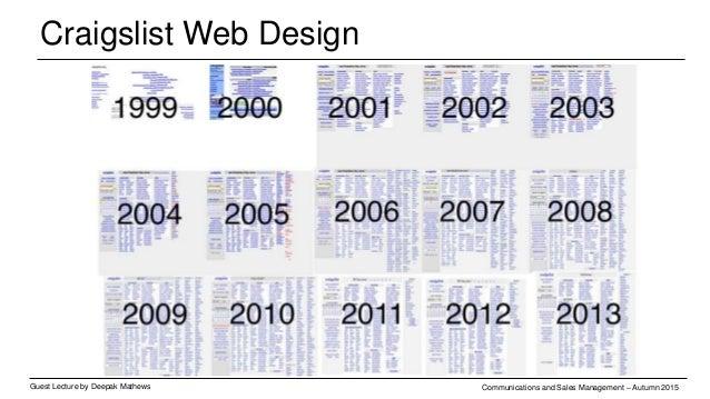 Craigslist Web Design Guest Lecture by Deepak Mathews Communications and Sales Management – Autumn 2015