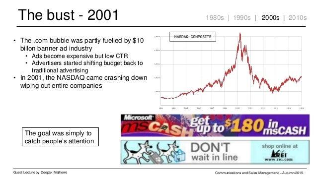 The bust - 2001 Guest Lecture by Deepak Mathews Communications and Sales Management – Autumn 2015 • The .com bubble was pa...