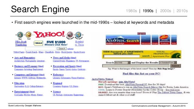 Search Engine Guest Lecture by Deepak Mathews Communications and Sales Management – Autumn 2015 1980s | 1990s | 2000s | 20...