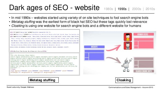 Dark ages of SEO - website Guest Lecture by Deepak Mathews Communications and Sales Management – Autumn 2015 1980s | 1990s...