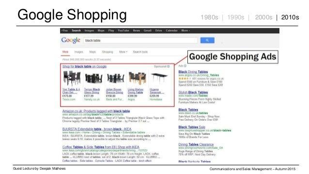 Google Shopping Guest Lecture by Deepak Mathews Communications and Sales Management – Autumn 2015 1980s | 1990s | 2000s | ...