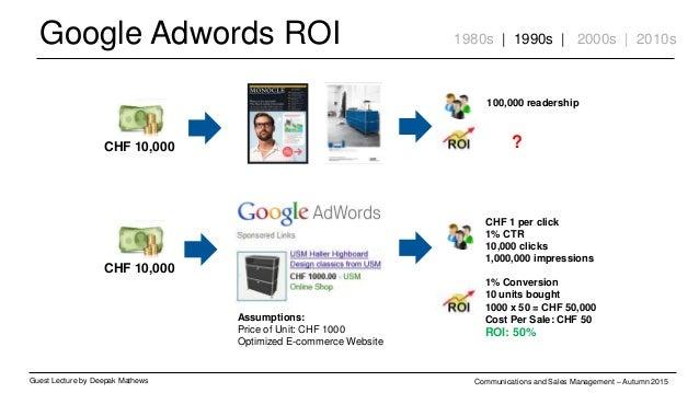Google Adwords ROI Guest Lecture by Deepak Mathews Communications and Sales Management – Autumn 2015 1980s | 1990s | 2000s...
