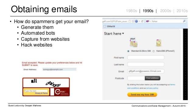 Obtaining emails Guest Lecture by Deepak Mathews Communications and Sales Management – Autumn 2015 1980s | 1990s | 2000s |...