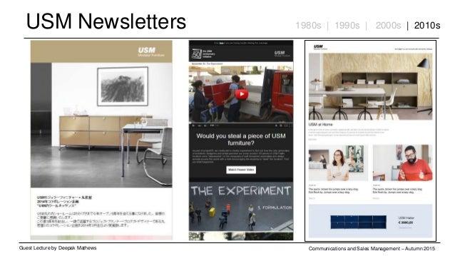 USM Newsletters Guest Lecture by Deepak Mathews Communications and Sales Management – Autumn 2015 1980s | 1990s | 2000s | ...