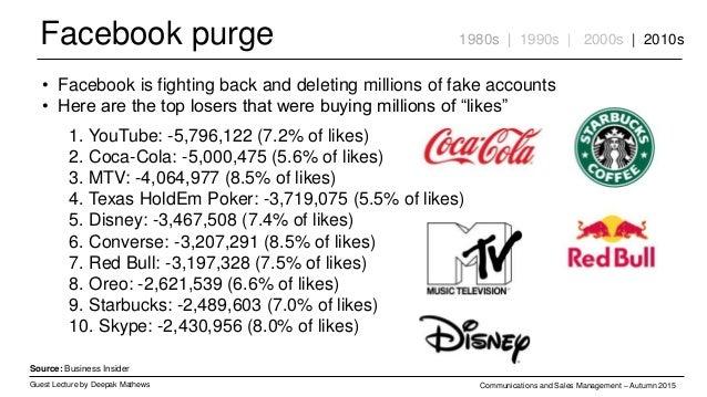 Facebook purge Guest Lecture by Deepak Mathews Communications and Sales Management – Autumn 2015 1980s | 1990s | 2000s | 2...