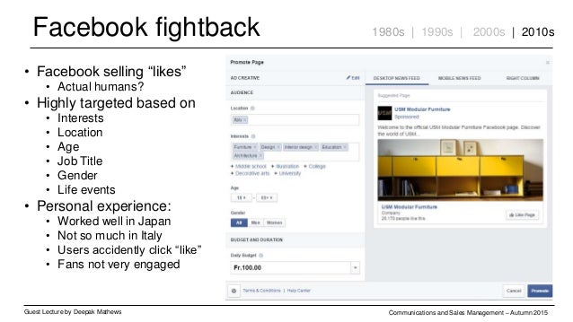 Facebook fightback Guest Lecture by Deepak Mathews Communications and Sales Management – Autumn 2015 1980s | 1990s | 2000s...