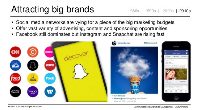 Attracting big brands Guest Lecture by Deepak Mathews Communications and Sales Management – Autumn 2015 1980s | 1990s | 20...