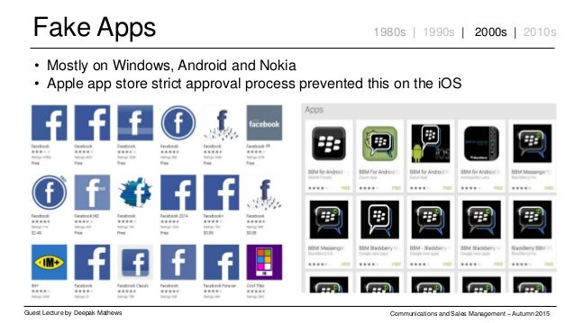 Fake Apps Guest Lecture by Deepak Mathews Communications and Sales Management – Autumn 2015 1980s | 1990s | 2000s | 2010s ...