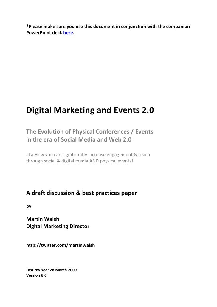 *Please make sure you use this document in conjunction with the companion PowerPoint deck here.     Digital Marketing and ...