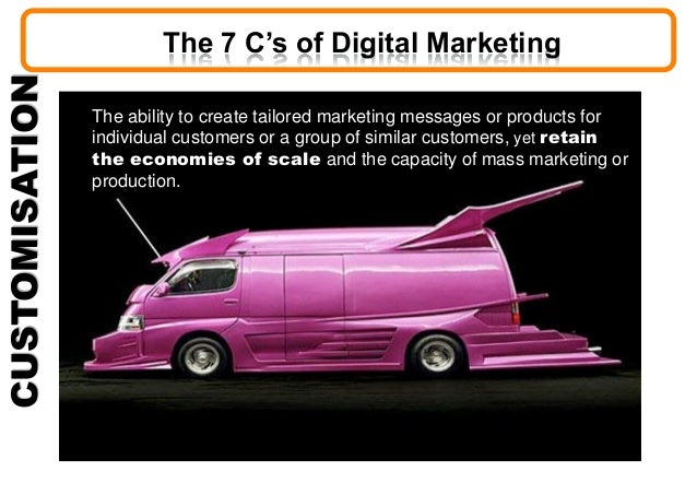 CUSTOMISATION The ability to create tailored marketing messages or products for individual customers or a group of similar...