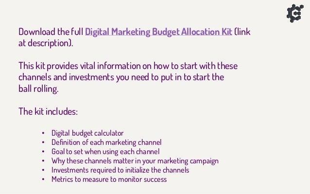 Digital Marketing Budget CheatSheet