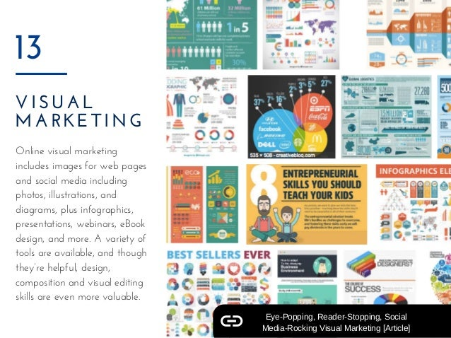 VISUAL MARKETING  13 Online visual marketing includes images for web pages and social media including photos, illustration...