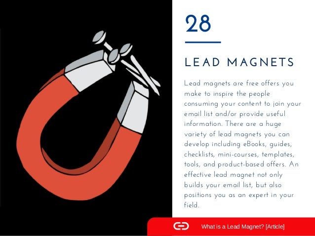 LEAD MAGNETS 28 Lead magnets are free offers you make to inspire the people consuming your content to join your email list...