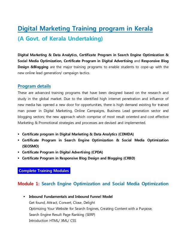 Digital Marketing Training program in Kerala (A Govt. of Kerala Undertaking) Digital Marketing & Data Analytics, Certifica...
