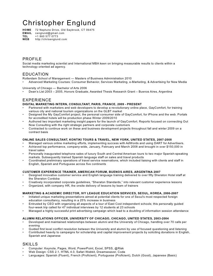 digital marketing resume