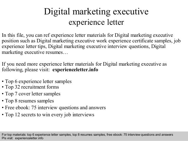 Digital Marketing Executive Experience Letter