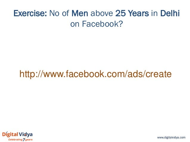 www.digitalvidya.com Exercise: No of Men above 25 Years in Delhi on Facebook? http://www.facebook.com/ads/create