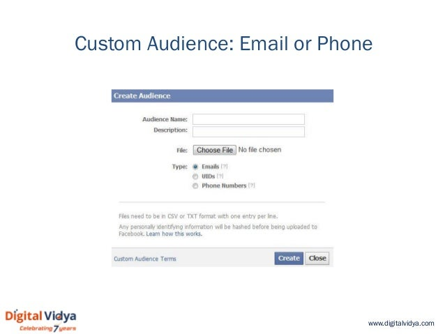 www.digitalvidya.com Custom Audience: Email or Phone
