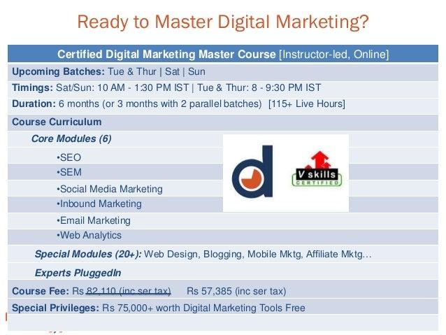 www.digitalvidya.com Ready to Master Digital Marketing? Certified Digital Marketing Master Course [Instructor-led, Online]...