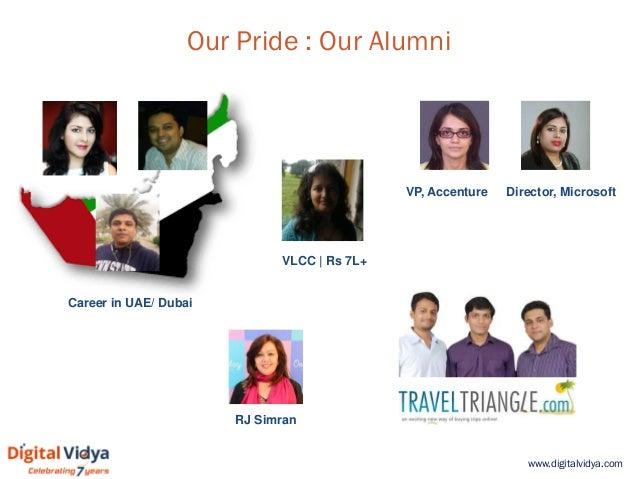 www.digitalvidya.com Our Pride : Our Alumni Director, Microsoft Career in UAE/ Dubai VP, Accenture VLCC | Rs 7L+ RJ Simran