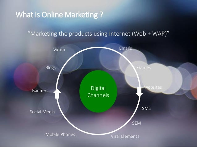 """IMFND 2015© What is Online Marketing ? """"Marketing the products using Internet (Web + WAP)"""" Emails Games Websites SMS SEM V..."""