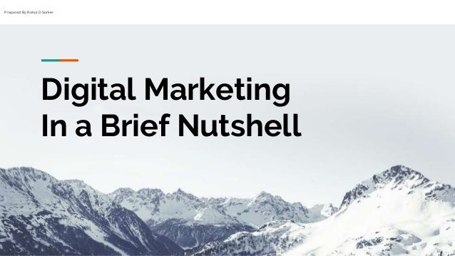 Prepared By Rahul D Sarker Digital Marketing In a Brief Nutshell