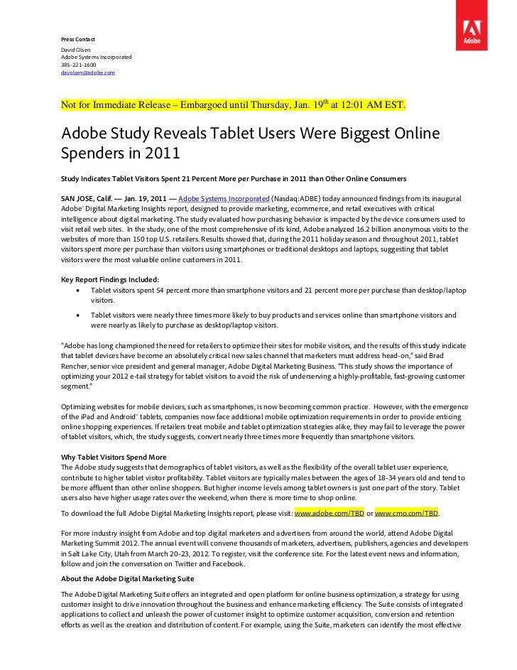 Press ContactDavid OlsenAdobe Systems Incorporated385-221-1600davolsen@adobe.comNot for Immediate Release – Embargoed unti...