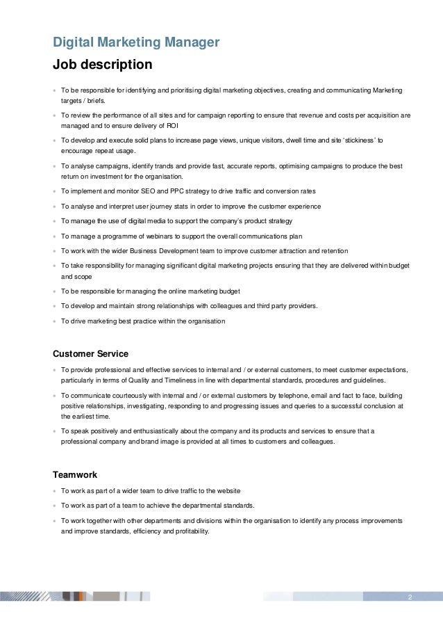 Beautiful Digital Marketing Job Description Ideas - Guide to the ...
