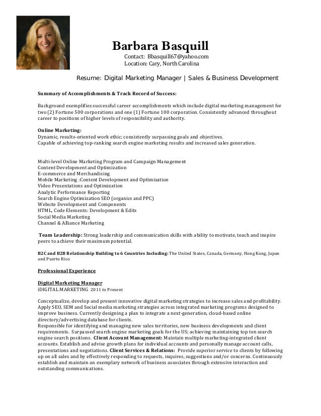 barbara basquill contact bbasquill67yahoocom location cary north carolina resume - Online Marketing Resume Sample
