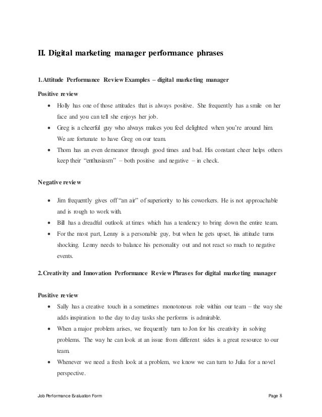 Digital Marketing Manager Performance Appraisal