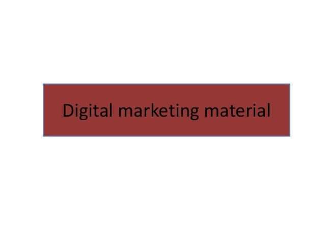 Digital Marketing Material Ppt