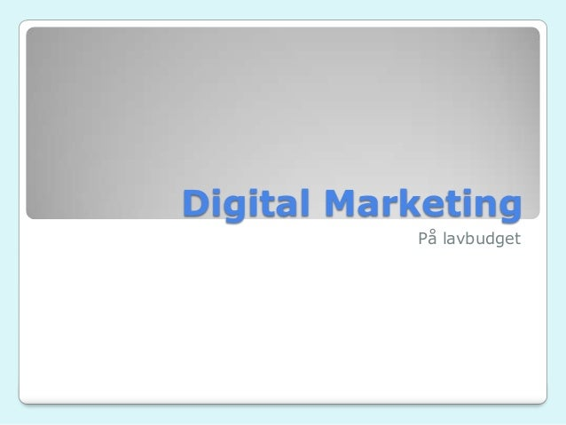 Digital Marketing På lavbudget