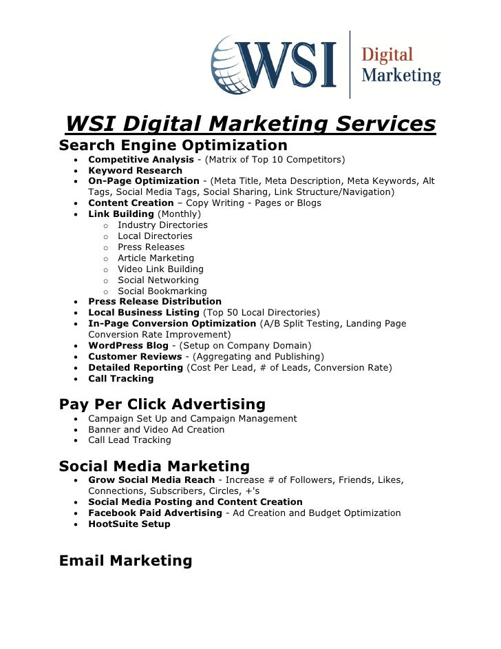 WSI Digital Marketing ServicesSearch Engine Optimization    Competitive Analysis - (Matrix of Top 10 Competitors)    Key...