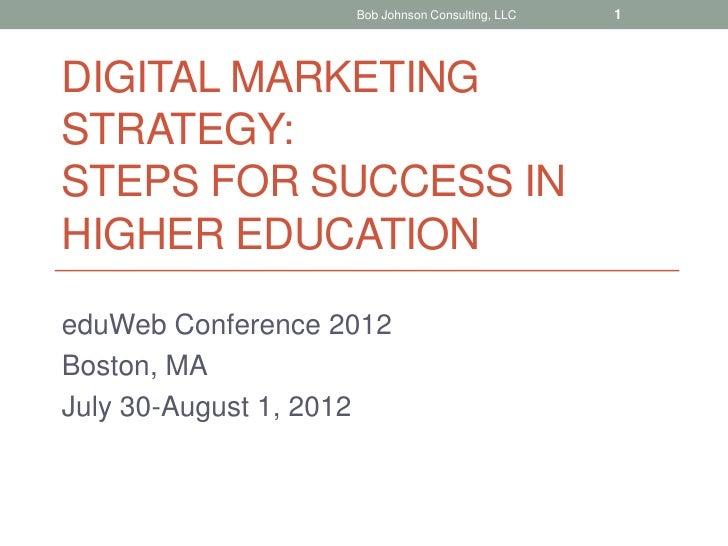Bob Johnson Consulting, LLC   1DIGITAL MARKETINGSTRATEGY:STEPS FOR SUCCESS INHIGHER EDUCATIONeduWeb Conference 2012Boston,...