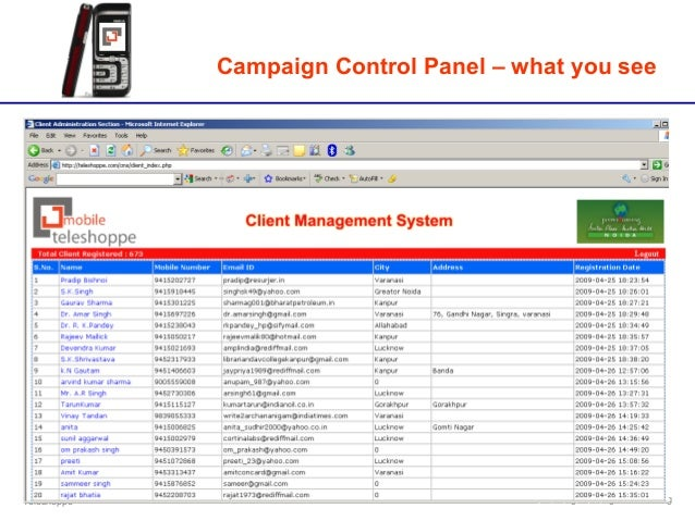 Teleshoppe Integrated Digital Marketing Campaign Control Panel – what you see