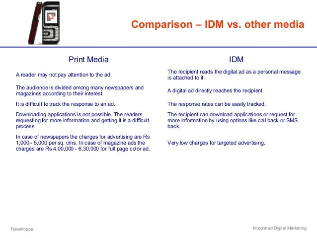 Teleshoppe Integrated Digital Marketing Comparison – IDM vs. other media Print Media IDM A reader may not pay attention to...