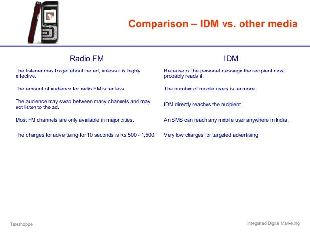 Teleshoppe Integrated Digital Marketing Comparison – IDM vs. other media Radio FM IDM The listener may forget about the ad...