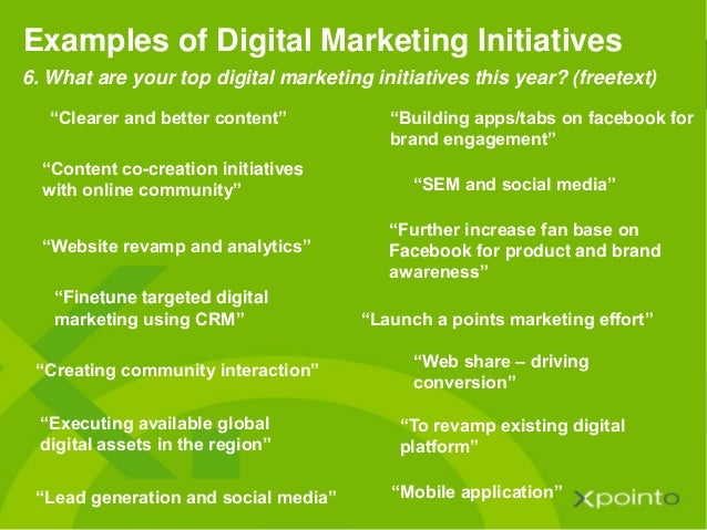 """""""Clearer and better content"""" Examples of Digital Marketing Initiatives """"Building apps/tabs on facebook for brand engagemen..."""