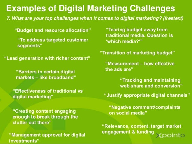 """""""Lead generation with richer content"""" Examples of Digital Marketing Challenges """"Tearing budget away from traditional media..."""