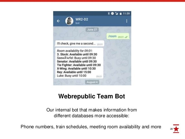 28 Webrepublic Team Bot Our internal bot that makes information from different databases more accessible: Phone numbers, t...