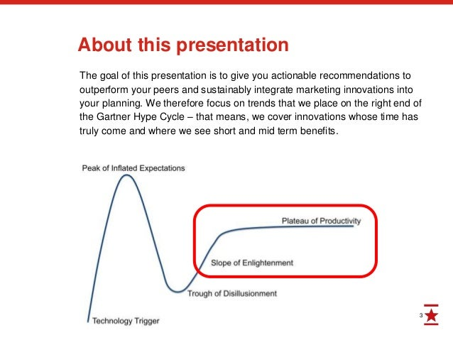 3 About this presentation The goal of this presentation is to give you actionable recommendations to outperform your peers...