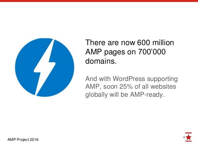 6 There are now 600 million AMP pages on 700'000 domains. And with WordPress supporting AMP, soon 25% of all websites glob...