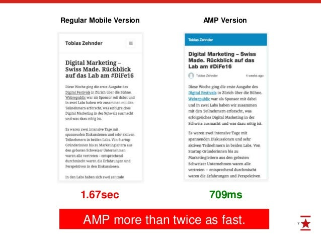 7 709ms1.67sec Regular Mobile Version AMP Version AMP more than twice as fast.