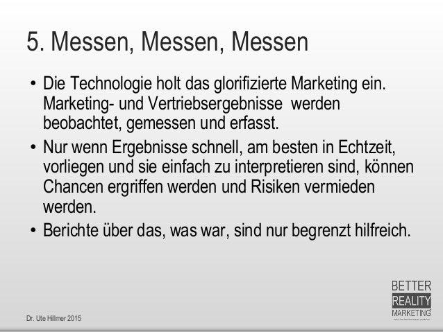 Dr. Ute Hillmer 2015 5. Messen, Messen, Messen • Die Technologie holt das glorifizierte Marketing ein. Marketing- und Vert...