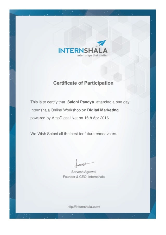 Digital Marketing Workshop Certificate 4